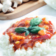 Chicken in tomato sauce with rice — Stock Photo #26474553