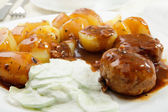 Meatball with sauce and potatos — Stock Photo