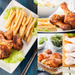Collage of chicken drumstick — Foto de Stock