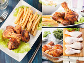 Collage of chicken drumstick — Stock Photo