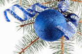 Blue christmas bauble — Stock Photo