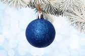 Blue christmas bauble — Stock Photo