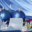 Christmas balls and candle — Stockfoto