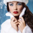 Young beautiful winter woman — Stock Photo