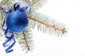 Blaue Weihnachtskugel — Stockfoto