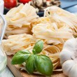 Italian pasta fettuccine nest — Stock Photo