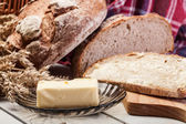 Fresh bread with butter — Stock Photo