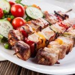 Grilled shashlik with vegetables — Stock fotografie