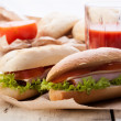 Sandwiches on paper — Stock Photo