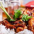 Sweet and sour pork and rice — Foto Stock