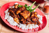Sweet and sour pork and rice — Stok fotoğraf