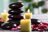 Spa still life with hot stones — Stock Photo