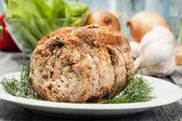 Pork lion roll stuffed with mushrooms — Stock Photo
