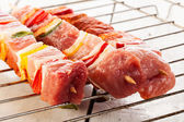Raw shashlik and vegetables — Stock Photo
