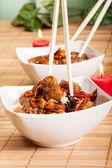 Söt och syrlig fläsk och ris — Stockfoto