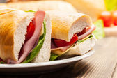Italian panini sandwich with ham — Stock Photo