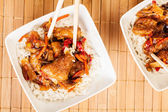 Sweet and sour pork and rice — Stock Photo