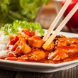 Sweet and sour chicken with rice — Stock Photo #43596225