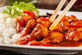 Sweet and sour chicken with rice — Foto Stock