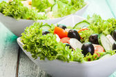 Fresh vegetable salad with cheese — Stock Photo