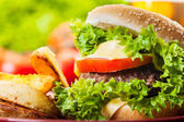 Closeup of cheeseburger with fries potatoes — Stock Photo