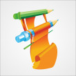 Vector illustration of colorful pencils. — Imagen vectorial