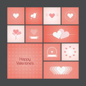 Greeting cards with heart for Valentine's Day — Stok Vektör