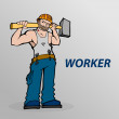 Cartoon worker. — Stockvectorbeeld