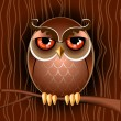 Stock Vector: Brown owl on a branch.