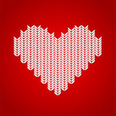 Vector background with knitted heart. — Stock Vector