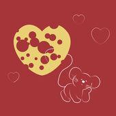 Ratón soñando con queso. — Vector de stock