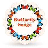 Färgglada vector badge med fjärilar. — Stockvektor