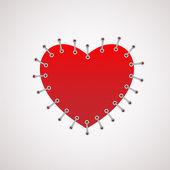 Векторная иллюстрация сердца с шов. — Cтоковый вектор