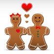 Gingerbread boy and girl cookies. — Stock vektor