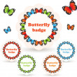 Stock Vector: Colorful vector badges with butterflies.