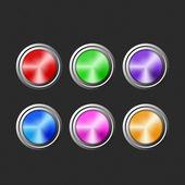 Färgade knapparna på svart bakgrund. — Stockvektor