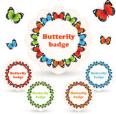 Colorful vector badges with butterflies. — Stock Vector