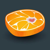 Orange with meat structure and bone in form heart. — Stock Vector
