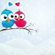 Couple of birds in love. Vector illustration. — Stock Vector
