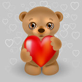 Teddy bear with a heart. — Stock Vector