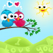 Stockvector : Couple of birds in love. Vector illustration.
