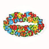 векторный фон с бабочками и цветами. — Cтоковый вектор