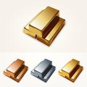 Vector illustration of gold bars. — Stock Vector