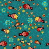 Vector folk background with fishes. — Stock Vector