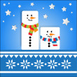 Vector background with snowmans. — ベクター素材ストック