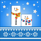 Vector background with snowmans. — Stock Vector