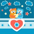 Two owls in love. — Imagen vectorial
