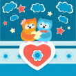Two owls in love. — Stock Vector