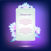 Invitation card on violet background with colorful flowers — Stock Vector