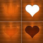 Heart in wood. Vector Background. — Stock Vector